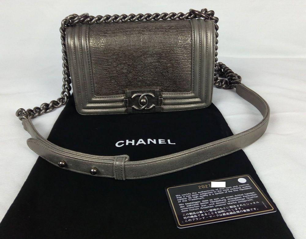 1297630bdb08 100% Authentic CHANEL Boy Bag Small Lizard Metallic Gray Limited Edition  NEW  CHANEL  BoyBagSmall
