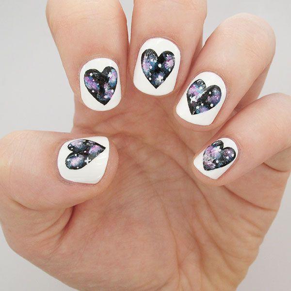 Galaxy Heart Nails Tutorial | Nail art pen, Pretty nails and Beauty ...