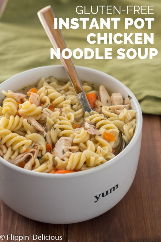 Gluten Free Instant Pot Chicken Noodle Soup made with left