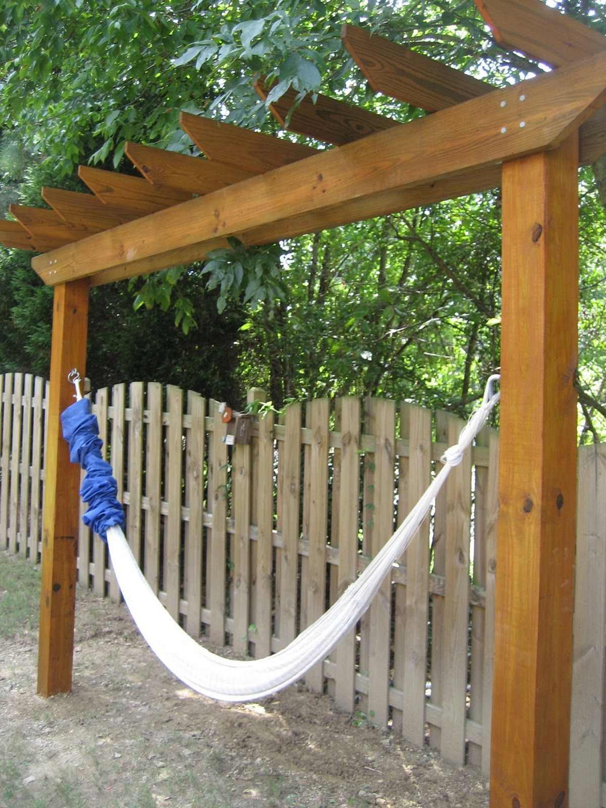 Diy hammock stand i like the fence too outdoors pinterest