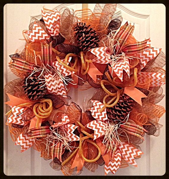 Fall Deco Mesh Wreath w/Glittered Pine Cones/Thanksgiving Harvest Deco Mesh Wreath/Brown and Orange Thanksgiving Deco Mesh Wreath