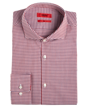 3f7ff7949 Hugo Boss HUGO Men's Slim-Fit Red Mini Gingham Dress Shirt & Reviews - Dress  Shirts - Men - Macy's