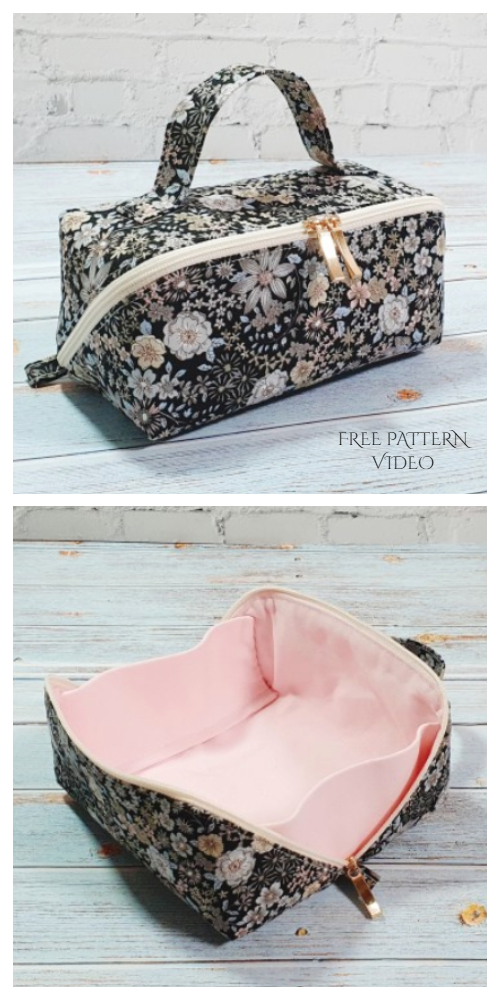 DIY Fabric Zip Up Tray Pouch Free Sewing Patterns + Video