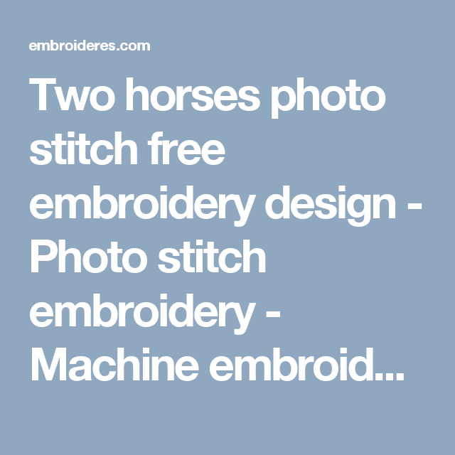 Two Horses Photo Stitch Free Embroidery Design Photo Stitch