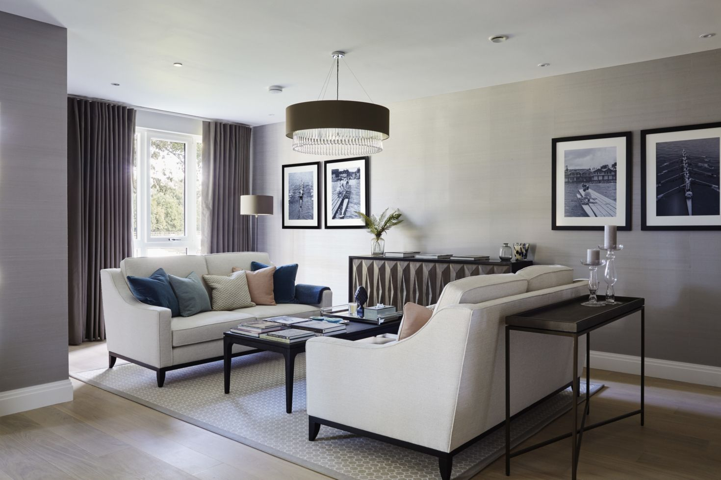 Large contemporary drawing room with a grey, brown and ...