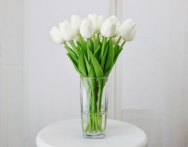 Tulips, silk floral arrangement, faux water, acrylic