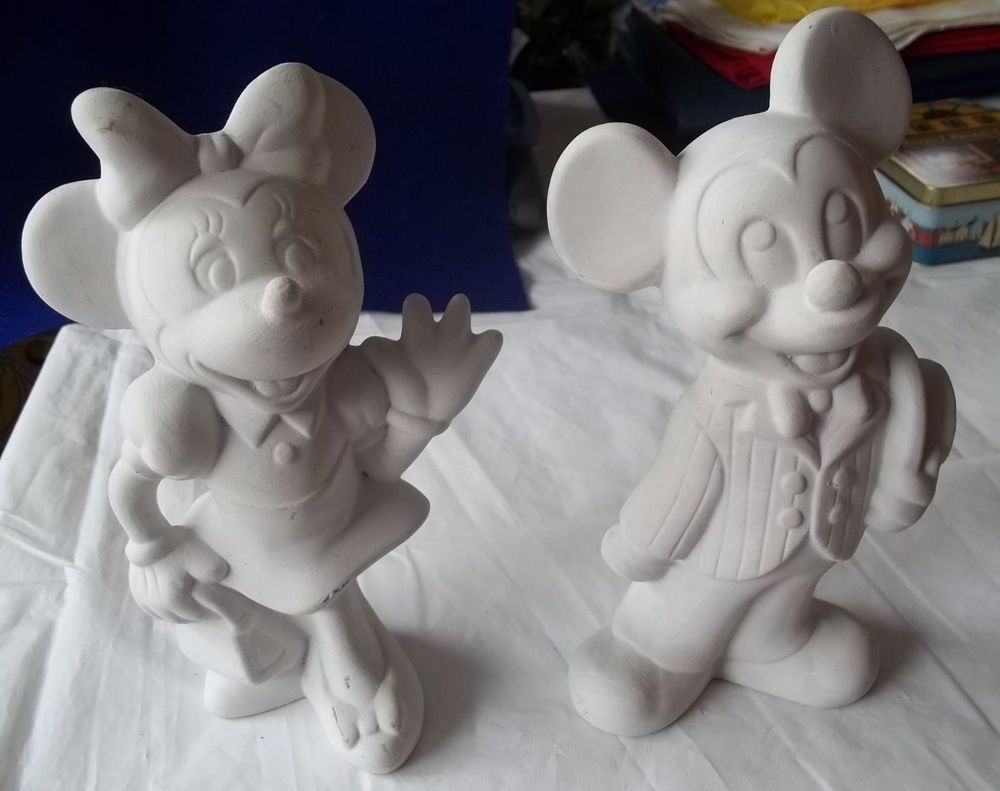Disney Mickey Amp Minnie Mouse 9 Inch Tall Figurines Ceramic