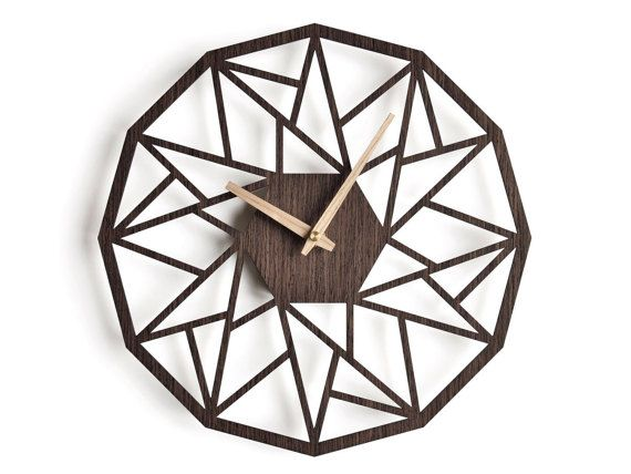 Oversized wall clock 30 cm - 12 in modern clock geometric - wanduhren modern