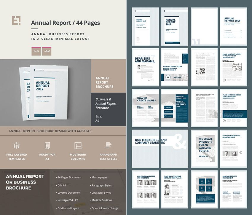 Annual Report Brochure Business InDesign Template Research for - company report template