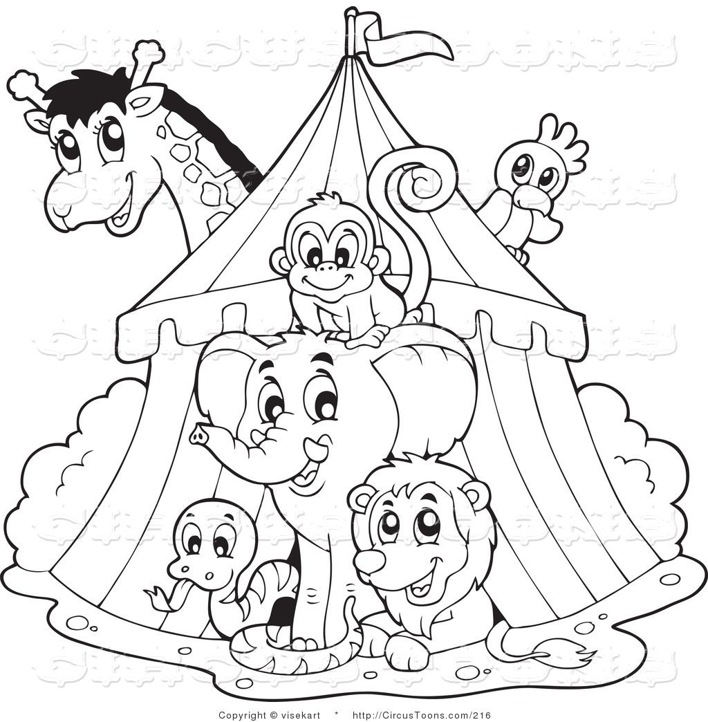 Clip art black and white circus clipart of a black and for Printable circus coloring pages