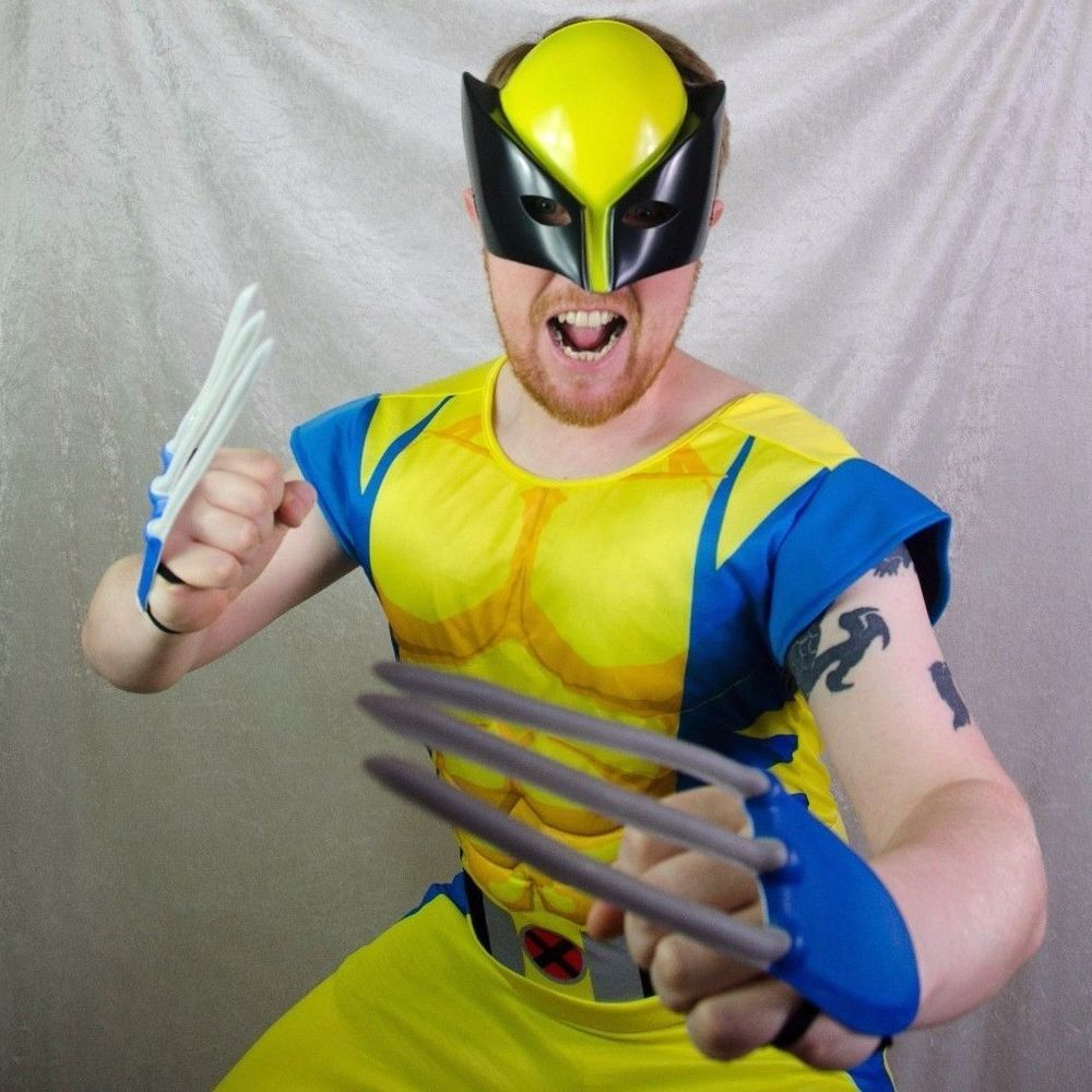 LICENSED DELUXE MUSCLE CHEST ADULT WOLVERINE X-MEN SUPERHERO HALLOWEEN COSTUME