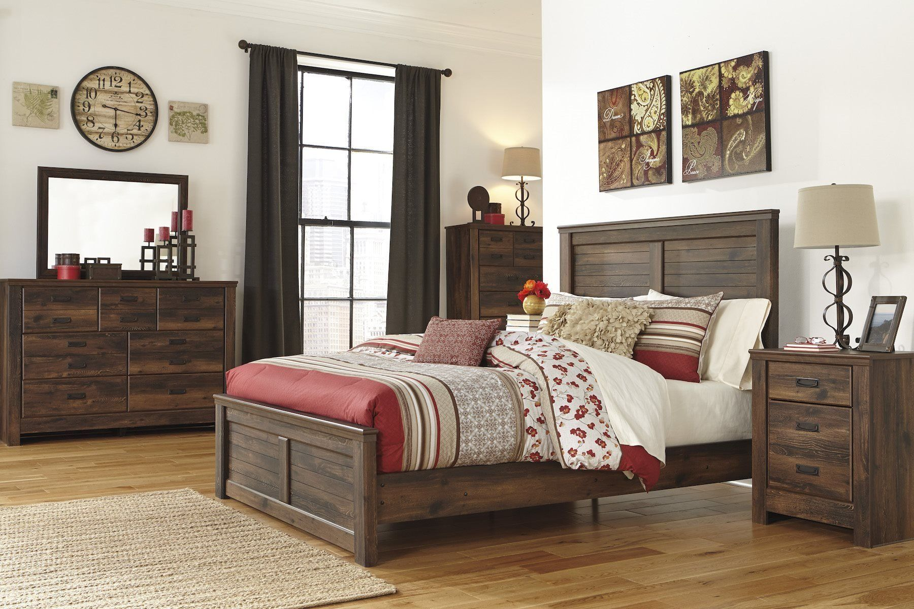 Ashley Quinden 5 Pc E King Panel Bedroom Set With Chest In Dark Brown Click Image To Review