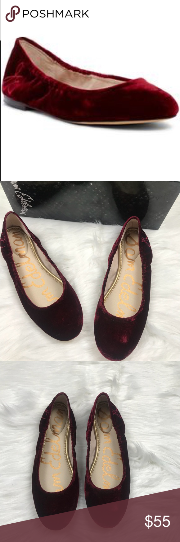 f85c3f36e742b0 NWOT Sam Edelman Fritz Cranberry Flats Size 7.5 Brand new in the box ...