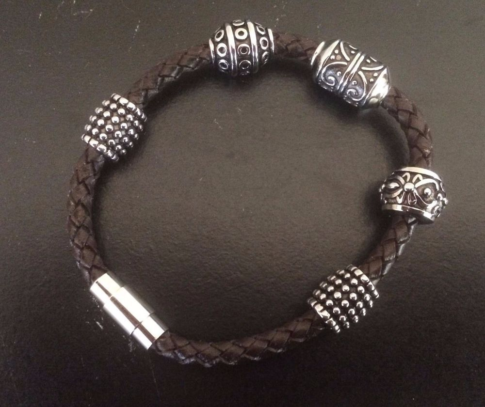 Brighton Braided Brown Leather Bracelet With 5 Silver Plated Unique Beads Brighton Beaded Brown Leather Bracelet Amazing Jewelry Leather Bracelet
