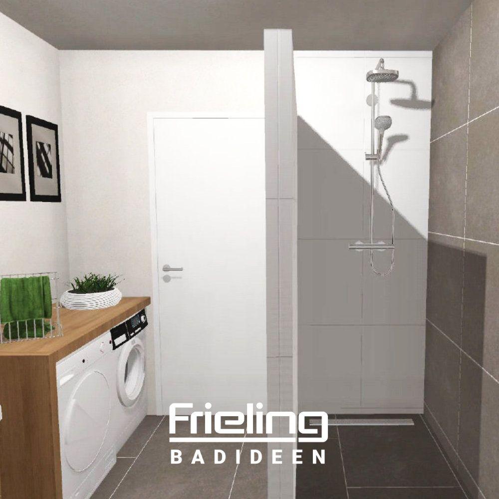 Das Bad mit ebenerdiger Dusche  Ansicht Dusche & Eingangsbereich