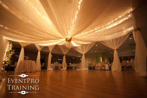 Step by step instructions for hanging fabric from a drop for Ceiling decoration ideas