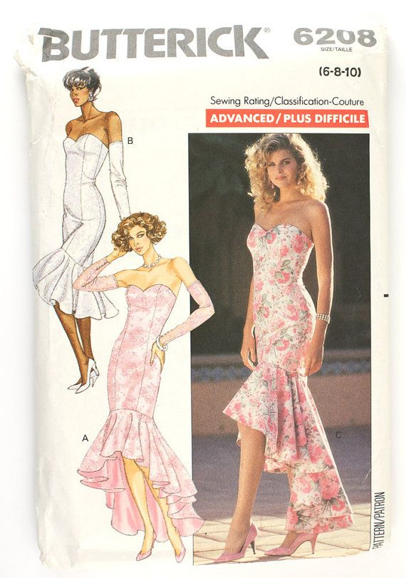 Butterick 6208 Misses 1980s Mermaid Dress Pattern Strapless