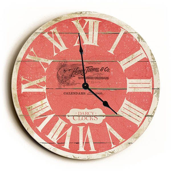 Red French Style Unique Wall Clock By Dickery Dock Unique Wall Clocks Country Wall Clock Clock