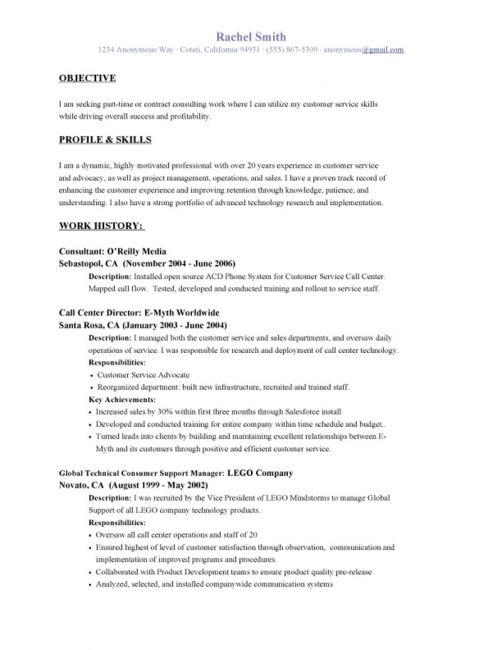 Example Of Objective For Resume In Customer Service saba - customer service consultant sample resume