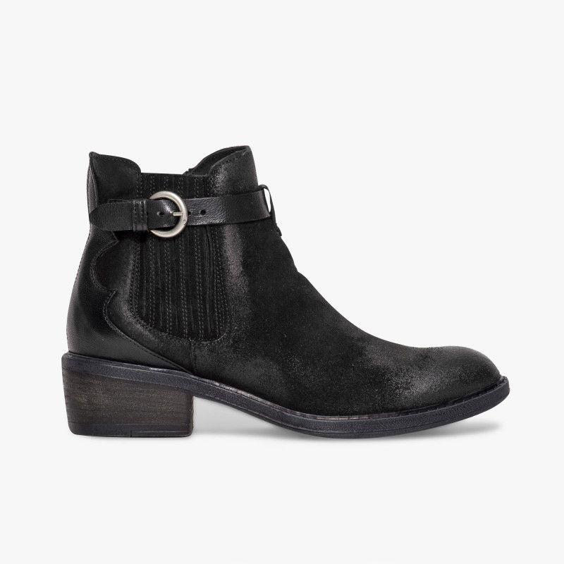 Boots Cuir Noir Avec DéCoupes Cheville Noir eQWiOl