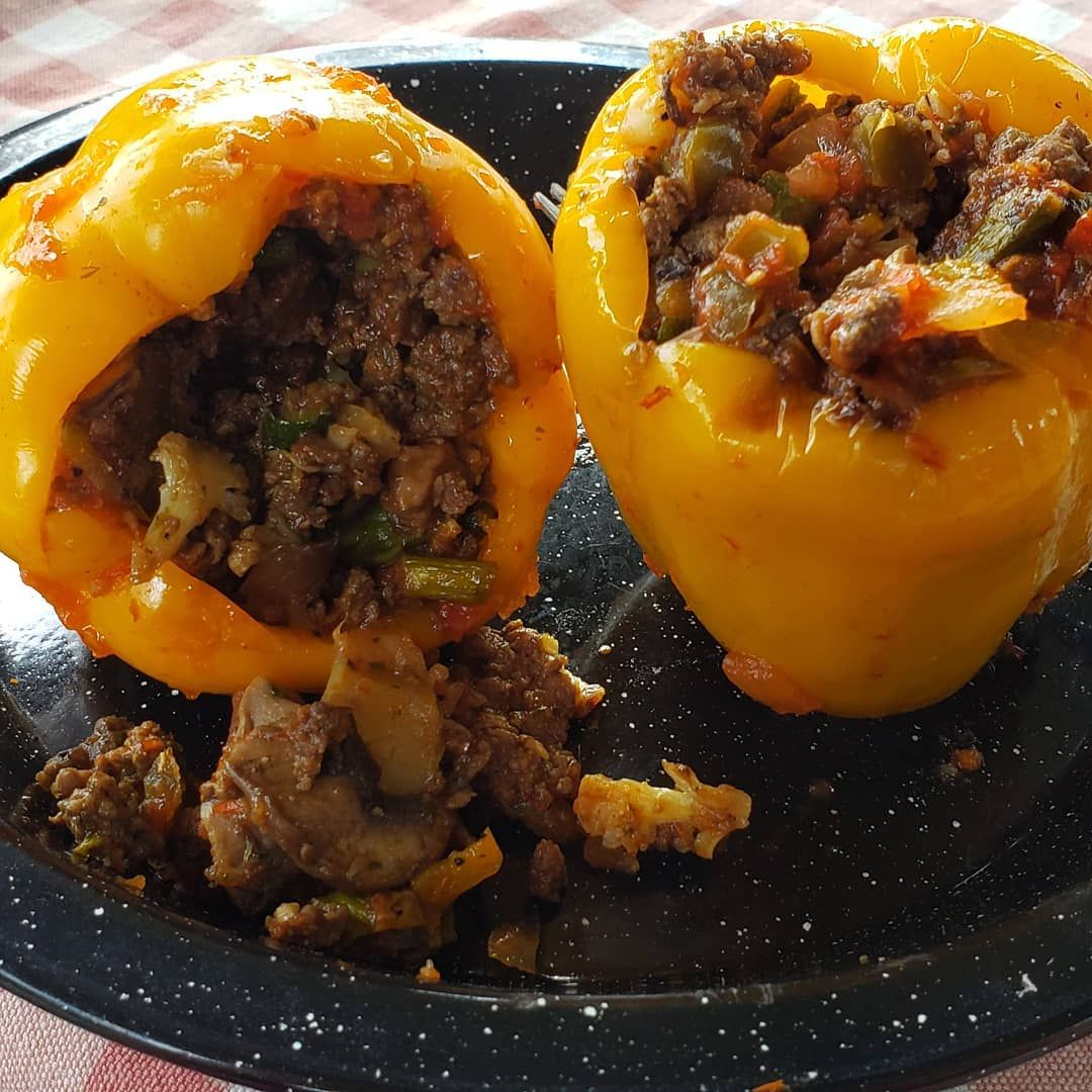 My dinner: Fire Roasted Stuffed Peppers. Added a bit of salsa to the mix and am so glad I did! Yum!