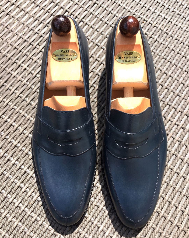 "blackshoeblog: "" Another fabulous penny loafer to add to my collection; Vass Split Toe Penny Loafer in Museum Blue Calf #vasslondon #ascotshoes #laszlovass #eva.vass #vasscharm #mensclothing #menswear..."