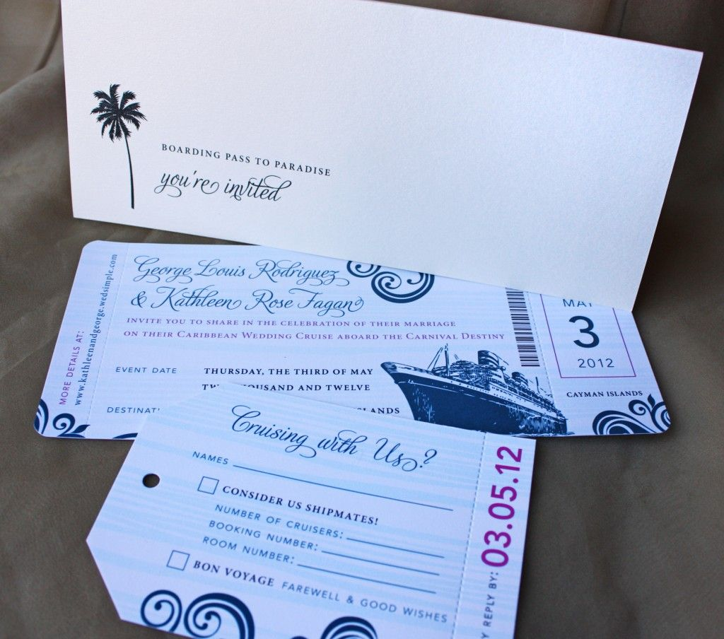 blue swirl with fuchsia accents cruise boarding pass wedding invitation luggage tag rsvp and pocket - Cruise Wedding Invitations