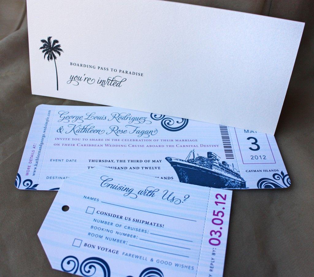 Blue Swirl with Fuchsia Accents Cruise Boarding Pass Wedding ...