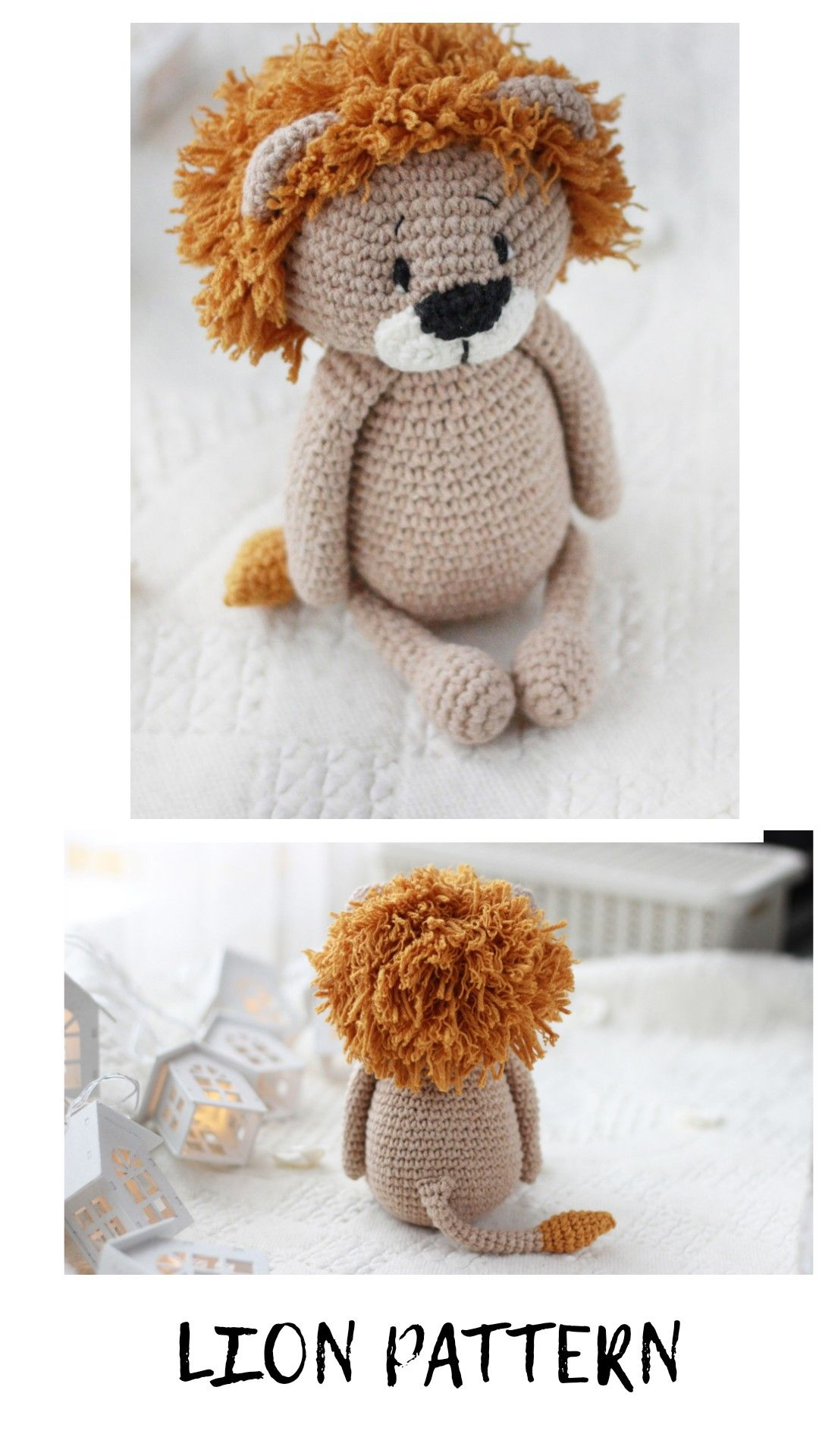 Crochet lion animal toy pattern Amigurumi animal pattern ...