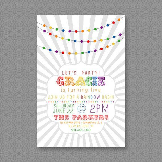 Customized 4x6 Rainbow Birthday Invitation