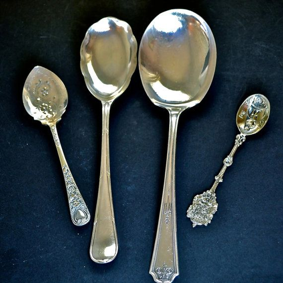 3 Old Spoons Vintage Silver Spoons Old Silver Plate Serving Spoons 3 Vintage Mismatched Silver Plate Serving Spoons