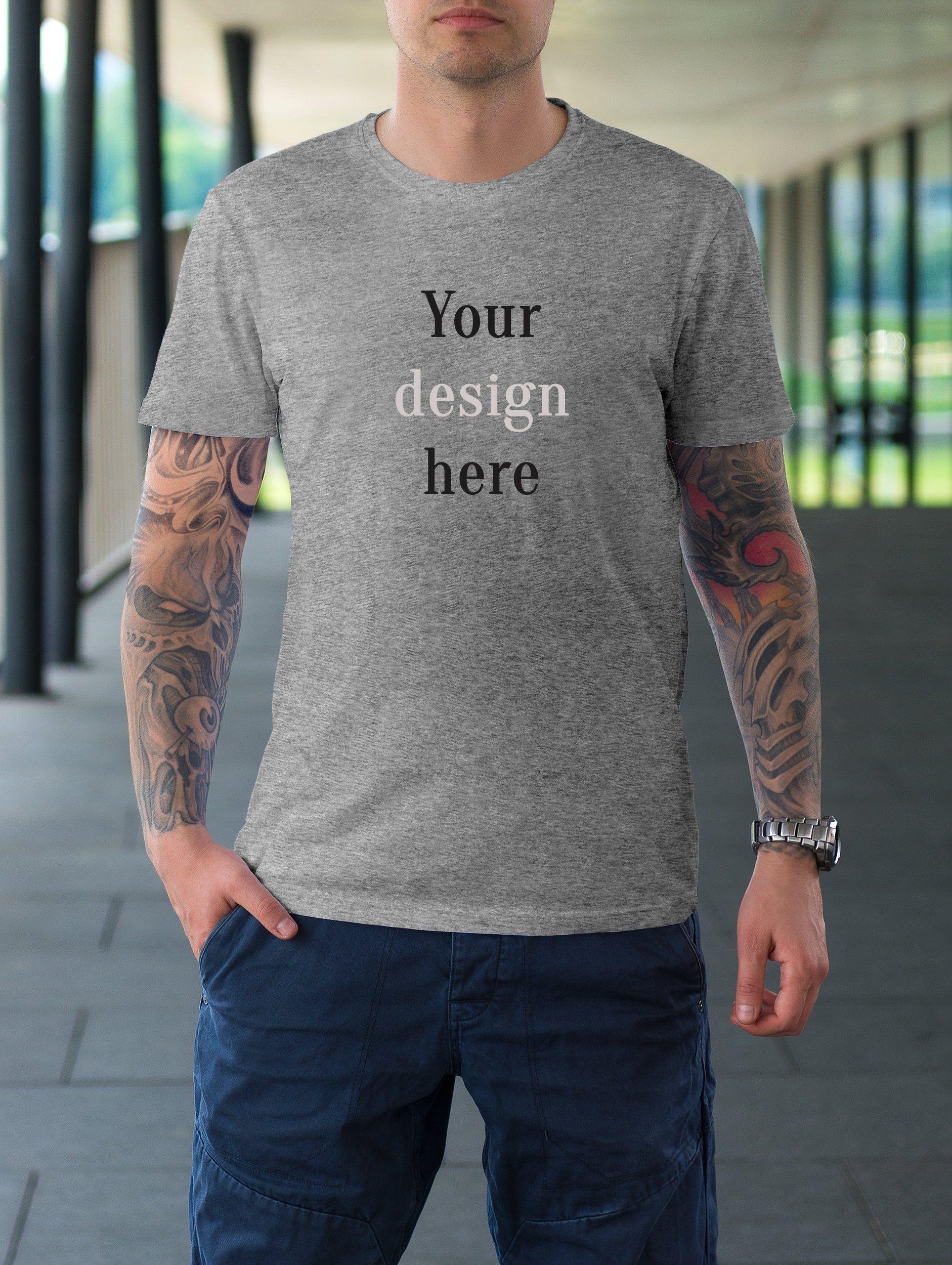 a0e5a249 Men's T-Shirt Mock-up, Gray T-Shirt Mockup, Bella Canvas 3001 Mock ...