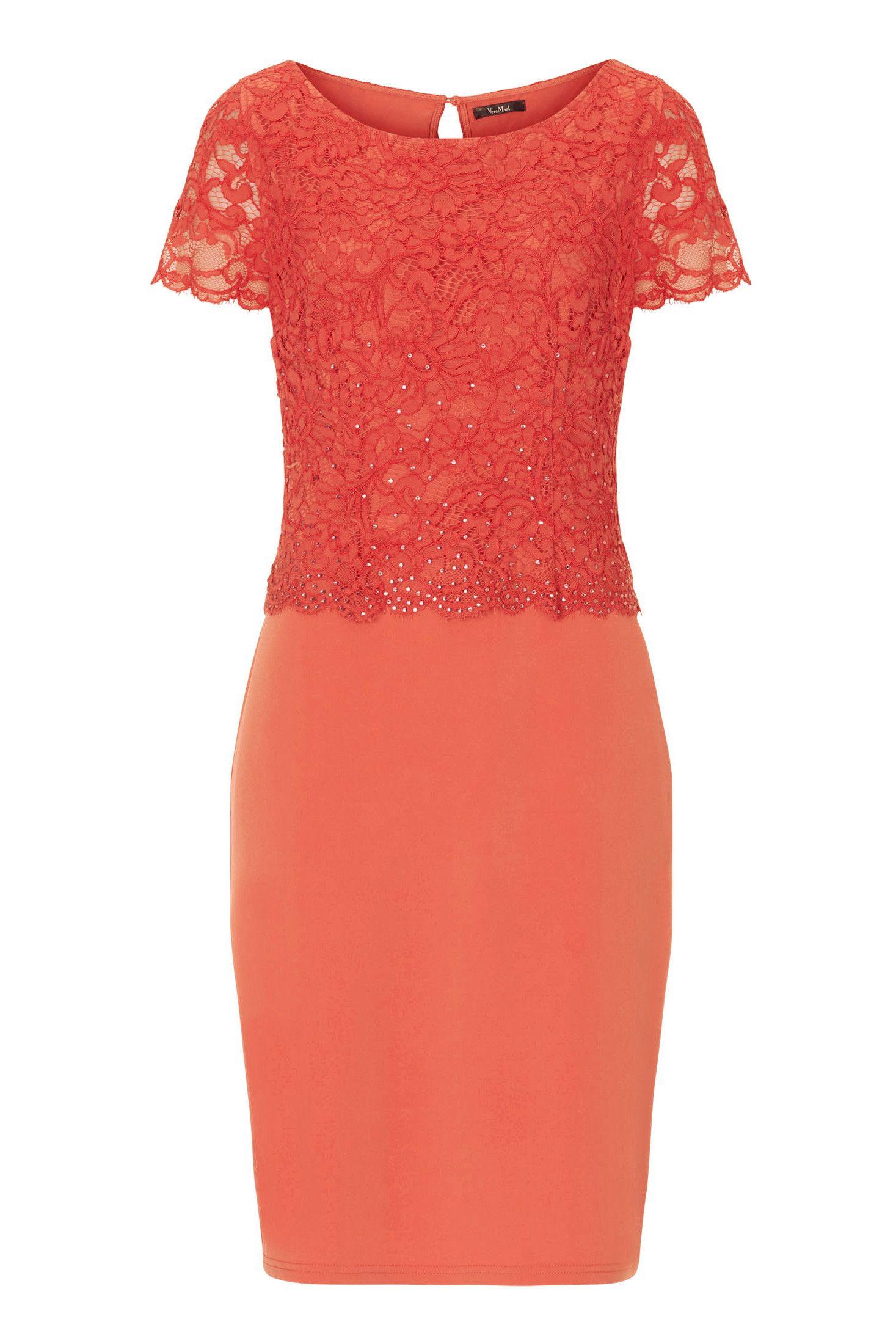 sale: elastisches kleid mit spitze orange vera mont | mode