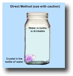 When making gem elixirs the direct method should be used with caution as som crystals are toxic and should only be used with the indirect method.
