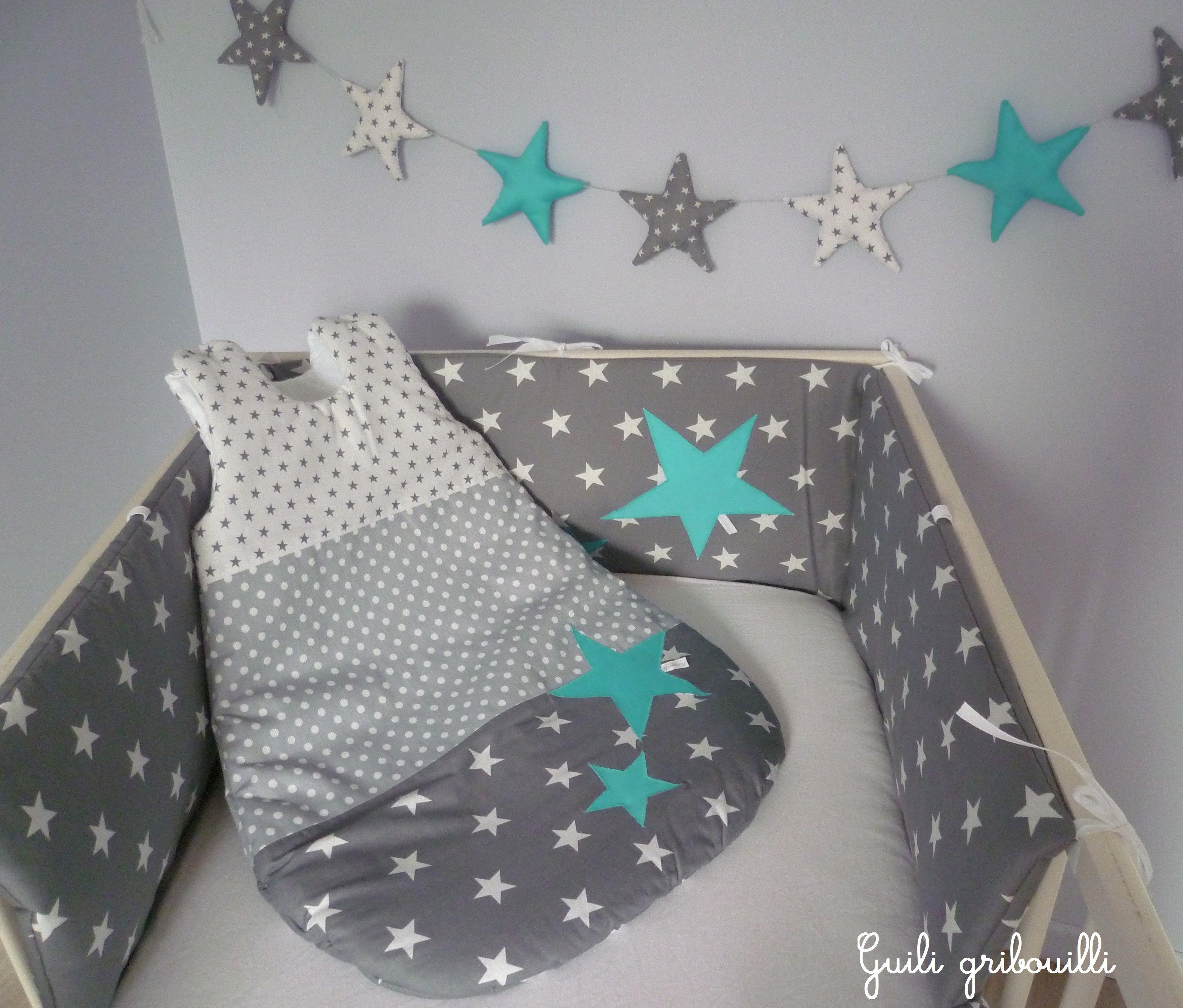tour de lit et gigoteuse guili gribouilli couture. Black Bedroom Furniture Sets. Home Design Ideas