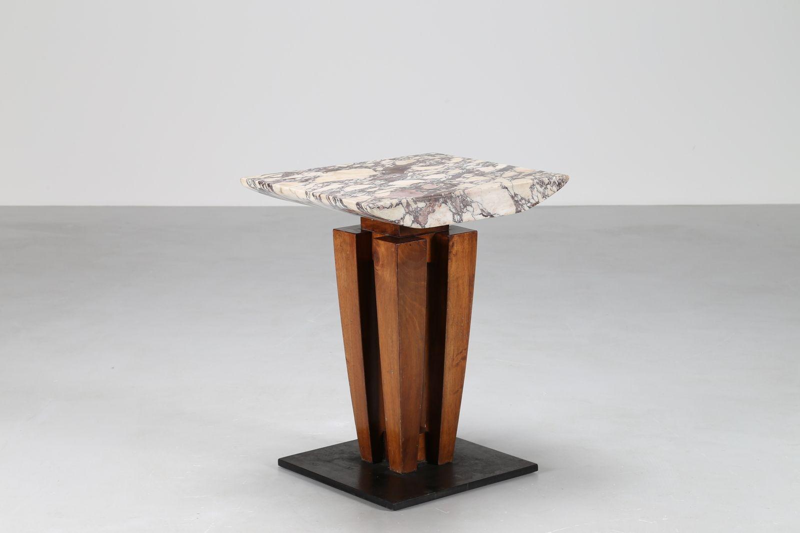 pierluigi spadolini architetto / tavolino gueridon pezzo unico in noce d'amazzonia con piano in marmo breccia capraia