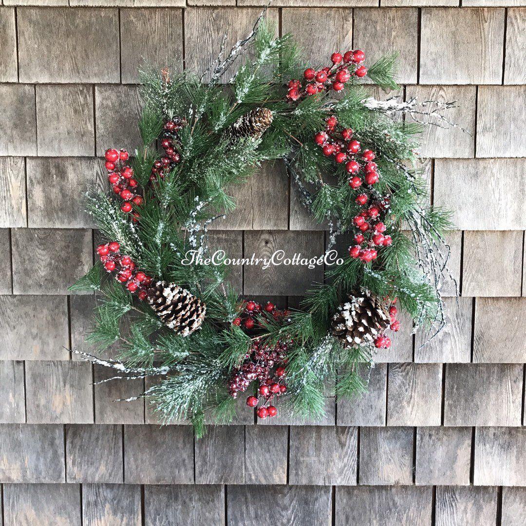 Christmas Holiday Wreath Decoration Snowy Winter Pine