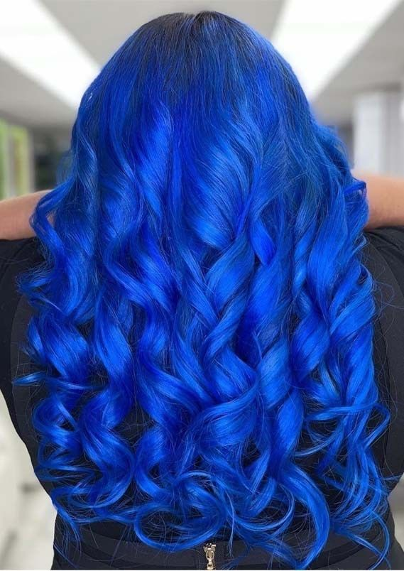 Gorgeous Blue Curls For Long Hair To Show Off Long Hair Styles Bright Blue Hair Curls For Long Hair