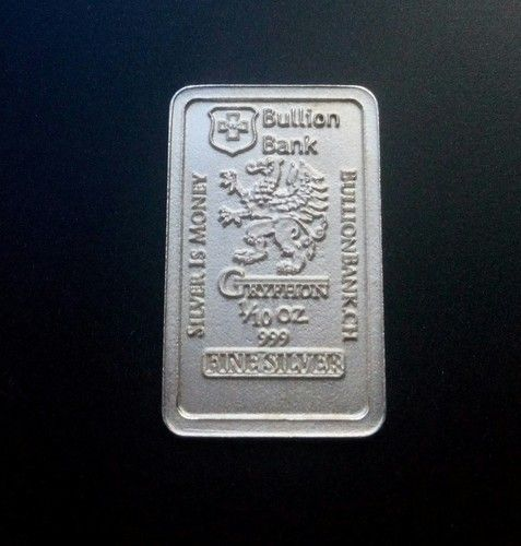 1 10 Oz Gryphon 999 Fine Silver Bar Bu Bullion Bank Starting At 4 Buy Gold And Silver Gold Bullion Bars Silver Bars