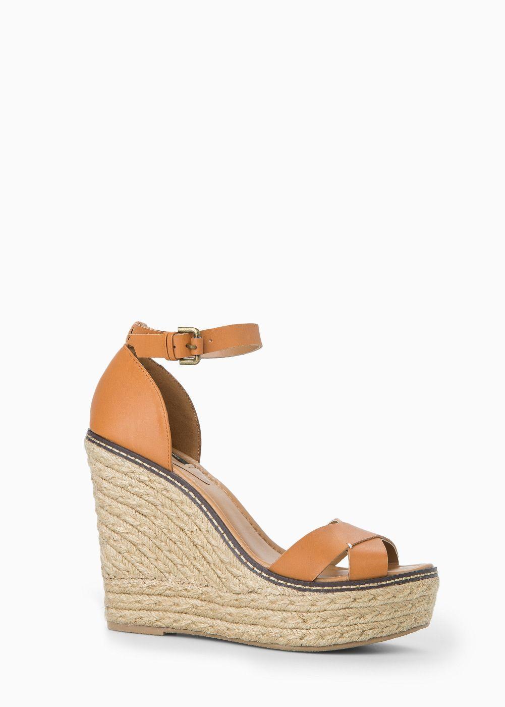 Special sizes - esparto leather sandals - Women | MANGO