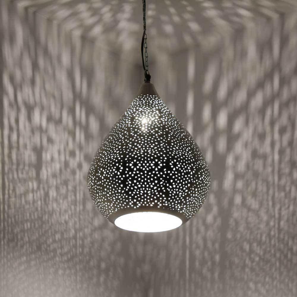 Details zu ORIENTLAMPE orientalische Hängelampe Silber Tropfen ...