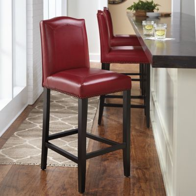 Carson Leather Bar Stool Grandin Road 24 Counter 199 00 30 219 63497 Camel Dark Red Or Navy