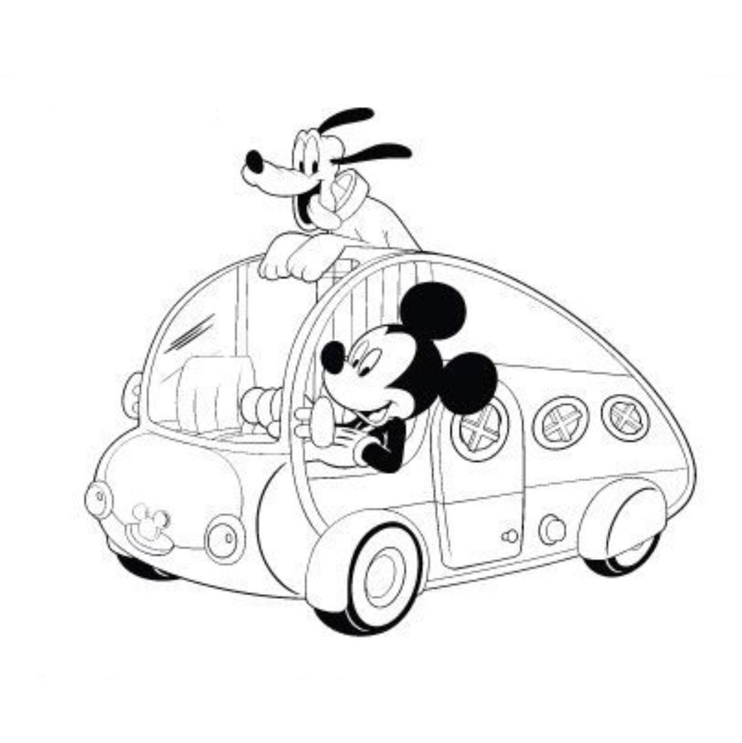 Mickey Road Trip Coloring Page With Images Disney Coloring
