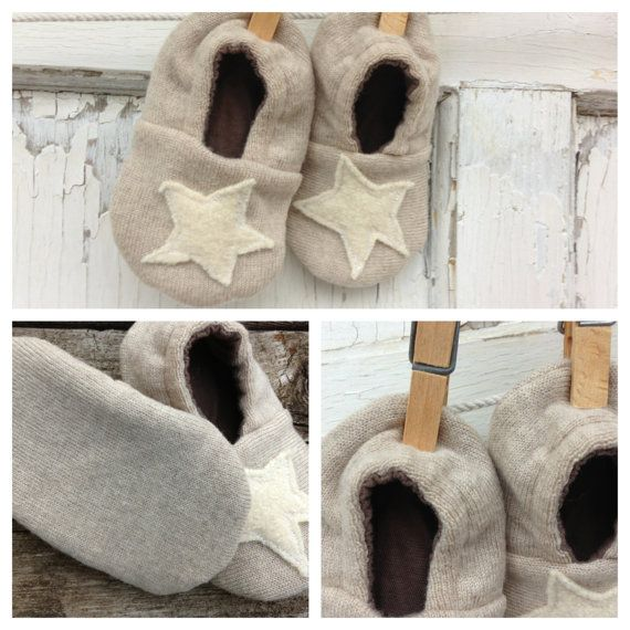 Dreamy Baby Shoes-Upcycled-Eco Friendly-9-12 Months-Stars-Felted Wool via Etsy