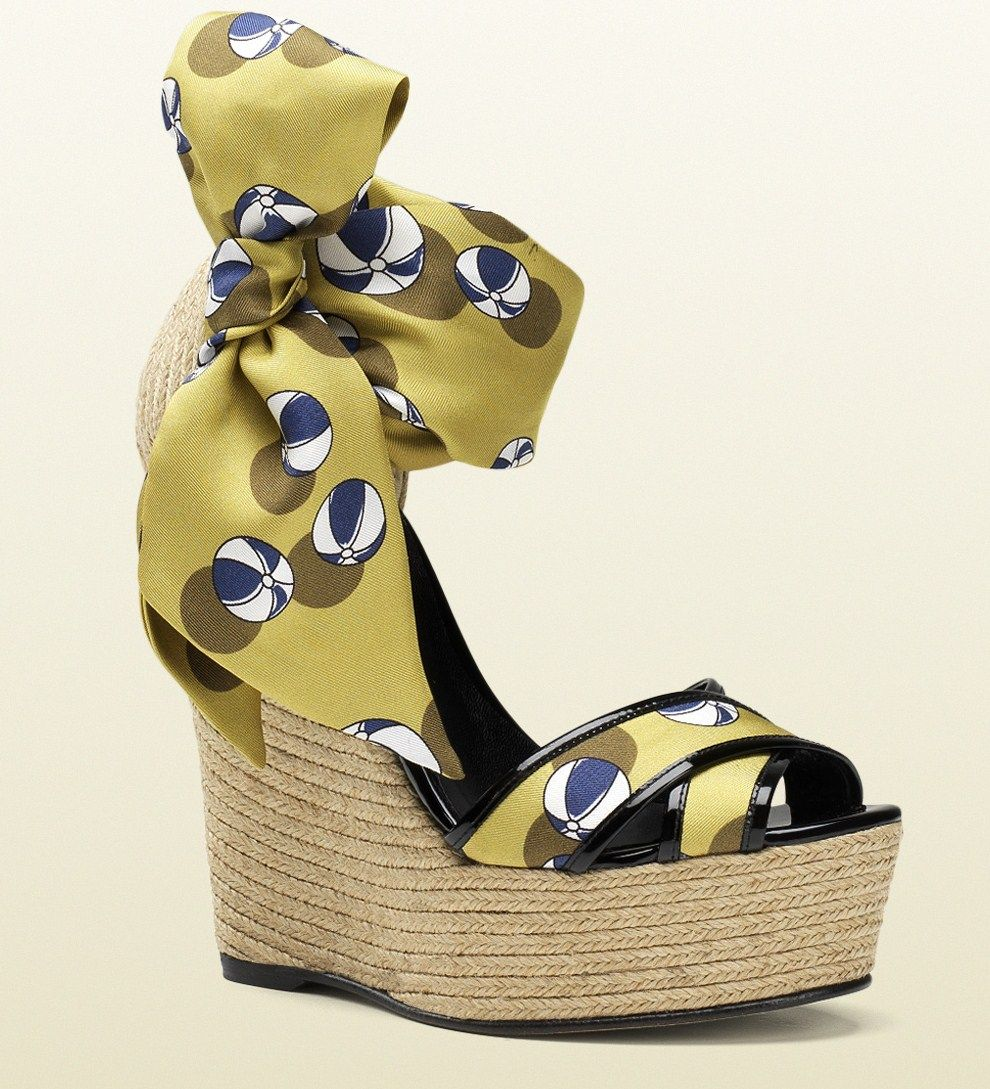 463466483ac Gucci 'Carolina Beach Ball' Satin Tie Wedge Sandals Spring 2014 ...