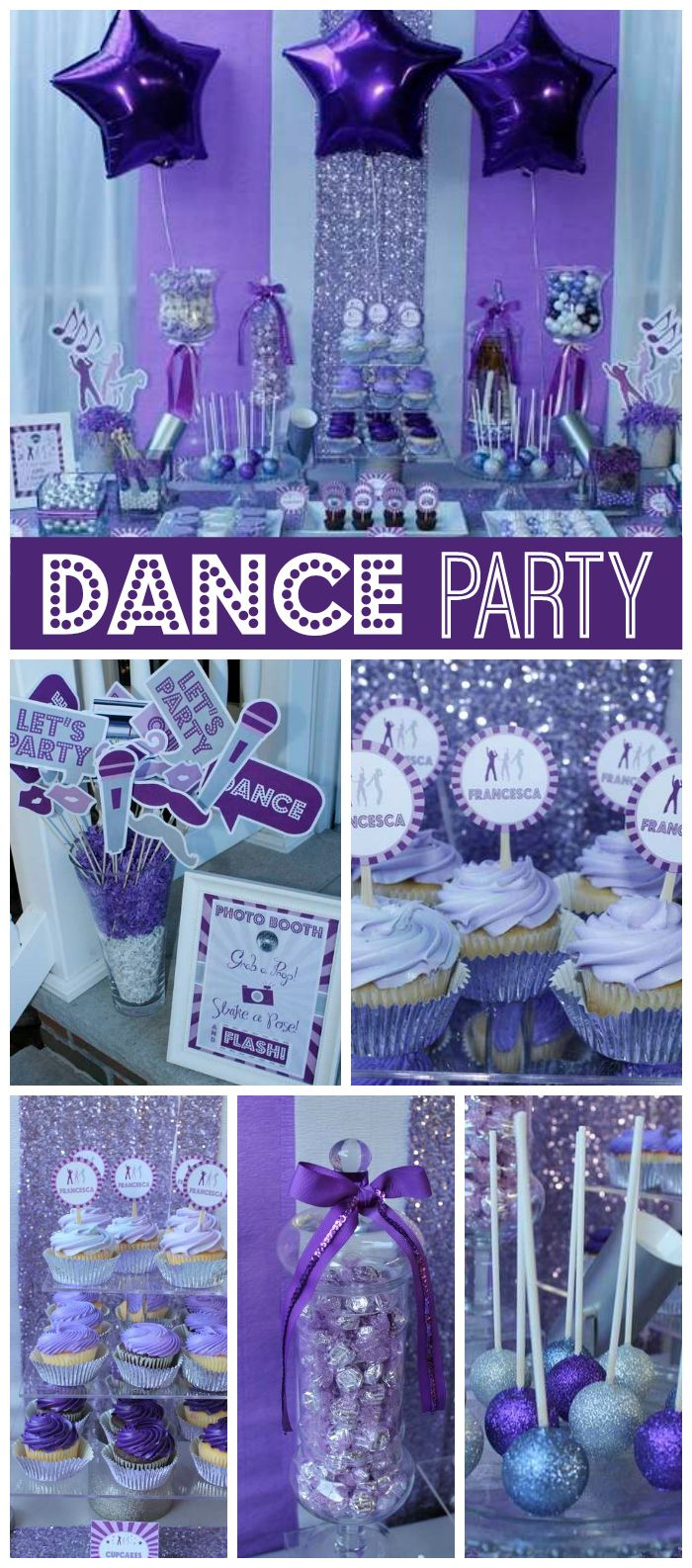 A Purple Dance Party For Twelve Year Old Girl With Disco Balls Sparkly Cake Pops And Dessert Table