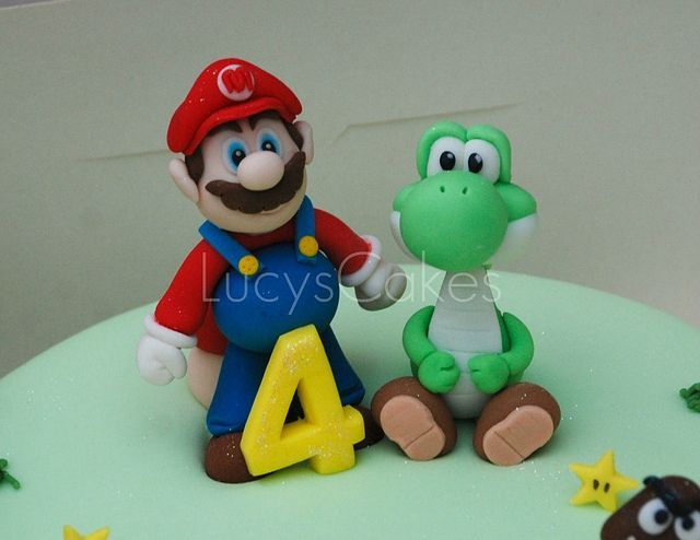 Swell Super Mario And Yoshi Birthday Cake Toppers Funny Birthday Cards Online Necthendildamsfinfo