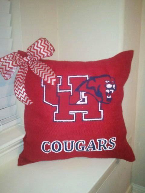 University Of Houston Cougars Red Burlap Pillow Etsy University Of Houston Houston Cougars Burlap Pillows