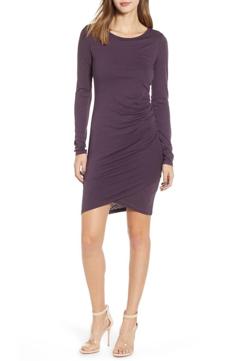 My Whole Heart Plum Long Sleeve Wrap Dress In 2020 Short Black Dress Long Sleeves Long Sleeve Wrap Dress Plum Dress