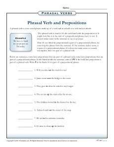 Phrasal Verbs And Prepositions Worksheet 3rd 4th 5th Grade Prepositional Phrases Preposition Worksheets Prepositions Free printable verb worksheets for 5th
